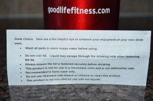 GoodLife Fitness Water Bottle Safety Warning
