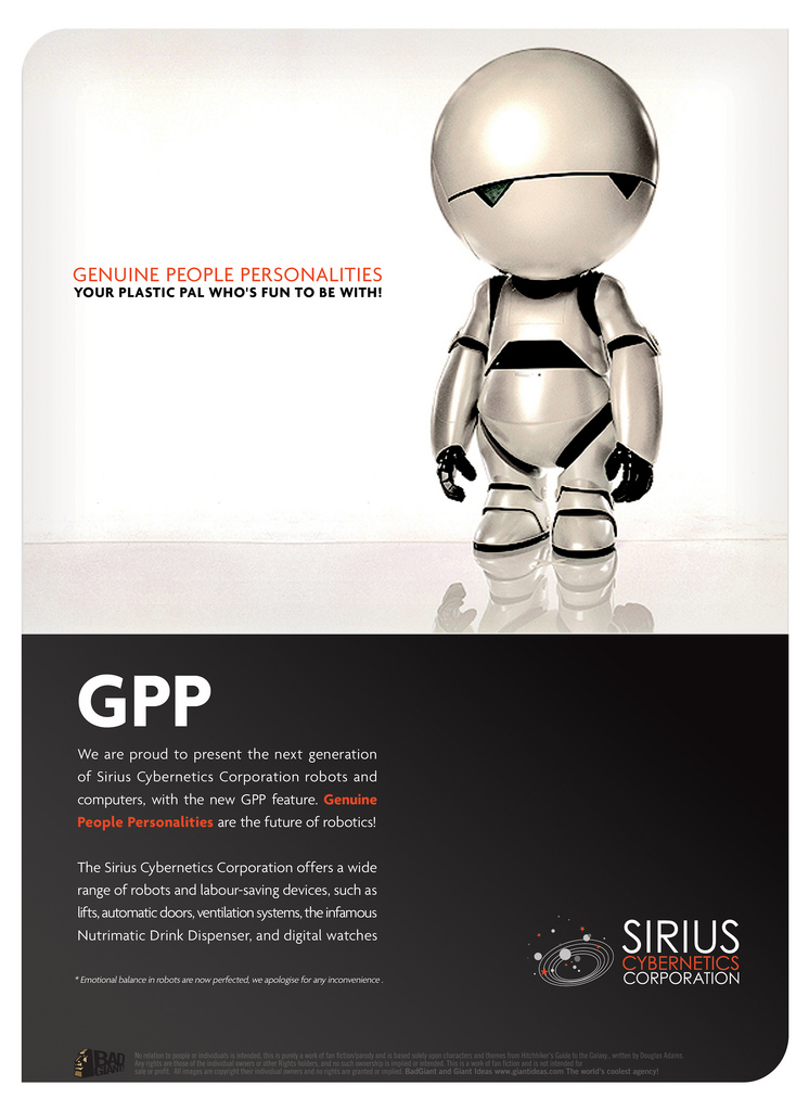 Marvin Genuine People Personalities Advertisement from the Sirius Cybernetics Corporation