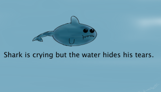 Depressed shark is crying but the water hides his tears.