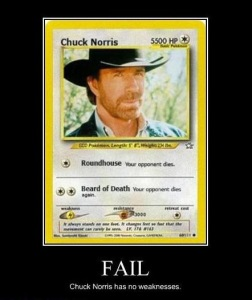 Chuck Norris has no weakness...!