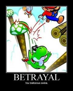 Mario drops Yoshi into a bottomless pit
